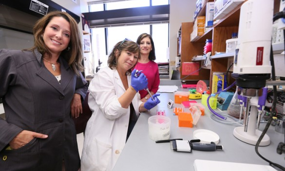 Vanderbilt scientist Rebecca Cook, Ph.D., left, and lab manager Donna Hicks, B.S., demonstrate lab procedures for Judith Salerno, M.D., M.S., President/CEO of Susan G. Komen. (photo by Anne Rayner)