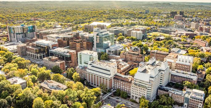 aerial photo of VUMC campus